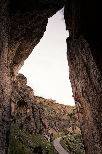 Me climbing Character Witness, 5.11a.<br> <br> Love this climb! I get on it every time we arrive at Ten Sleep too late to hit up the Mondo. A great climb to get on before you set up camp.