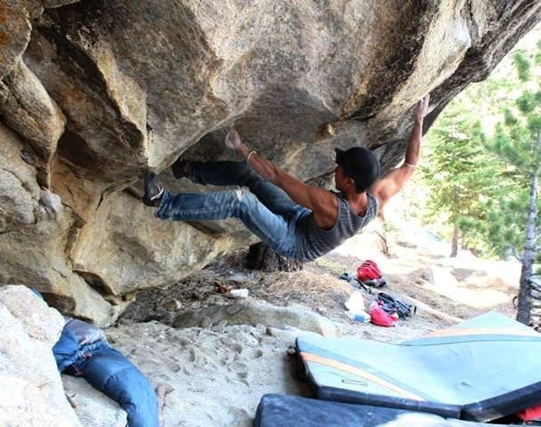 Rock Climbing Photo: making moves to sloopy jugs at the lip