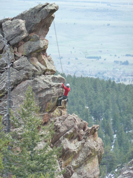 Unknown climber toproping Happy Ending from Red Devil.