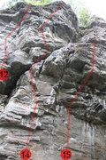 Rock Climbing Photo: #12 Aborigène #14 Chérubin  #15 Klaxon