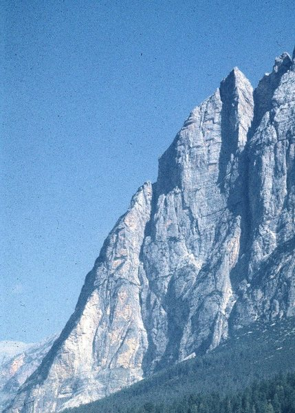 """Punta Fiames, and the """"Spigolo (arête)"""" at the upper right."""