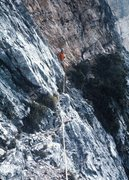 Rock Climbing Photo: Maurizio de Zanna. low on route and traversing to ...