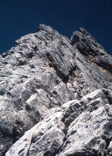 Rock Climbing Photo: Moving up onto the ever-narrowing arête.