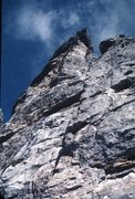 Rock Climbing Photo: Looking upward to the triangular roof, which bars ...