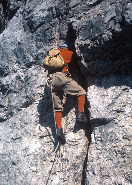 BITD, this section used a single point of aid. Now climbed at ~5.8. Boots were too big to fit the crack!