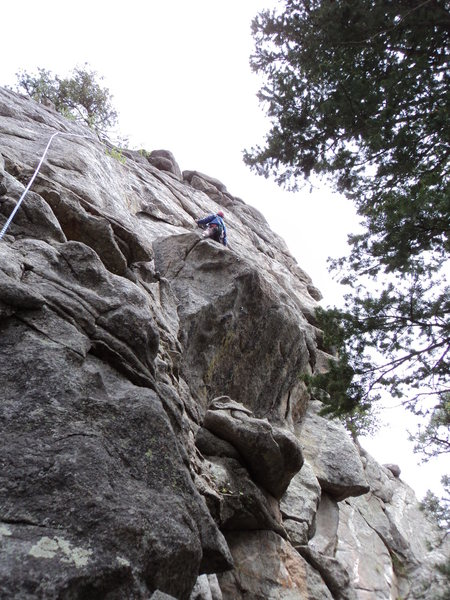 Deb climbs the upper bit with the bolted small bulge below.