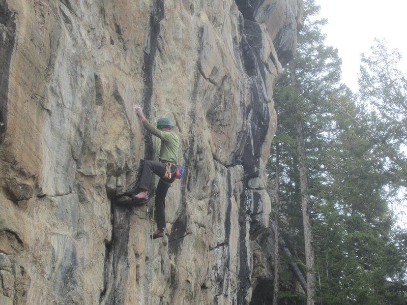 Rock Climbing Photo: Cookie Puss follows the thin black streak in the m...