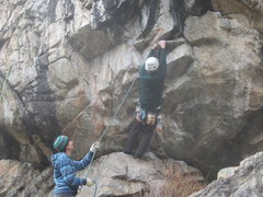 Rock Climbing Photo: Clint halfway through the crux start of Standing E...