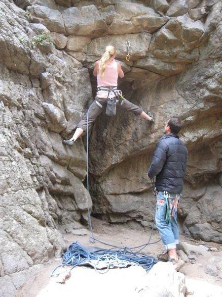 Rock Climbing Photo: Nikki getting started on Elk Sign.