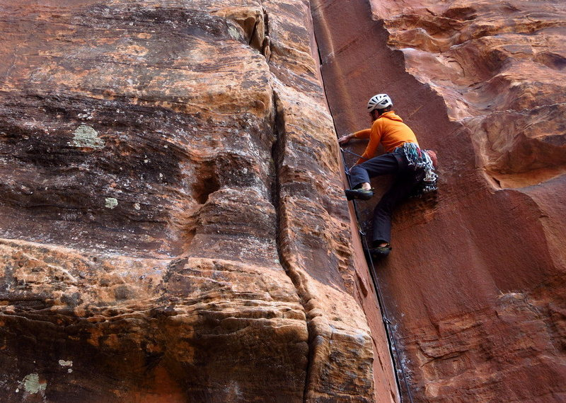 Rock Climbing Photo: Fingers laybacking quickly turns to stemming and p...