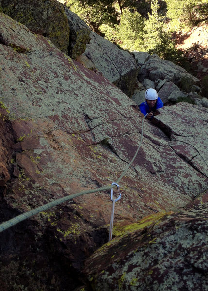 Rock Climbing Photo: Brent following the Variation to Mail Ridge pitch....