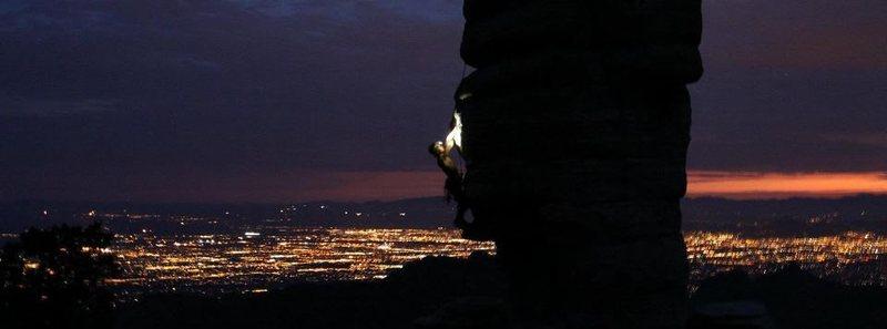 Rock Climbing Photo: Night climbing on Hitchcock Pinnacle's East Face