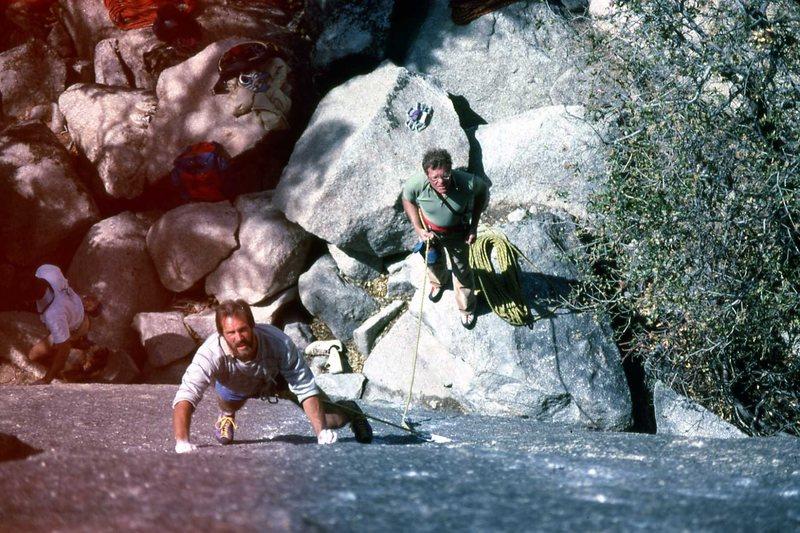 Rock Climbing Photo: Eddie making progress. Glenn Short walking out of ...