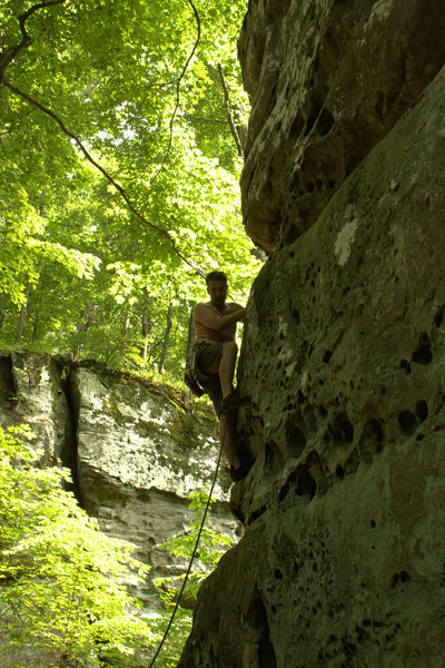 Rock Climbing Photo: My first lead attempt at Cigars and Scotch