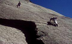 Rock Climbing Photo: Anne climbing and Gary belaying.