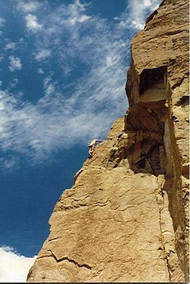 Rock Climbing Photo: Final face moves during the FA of Heatstroke, 1986...