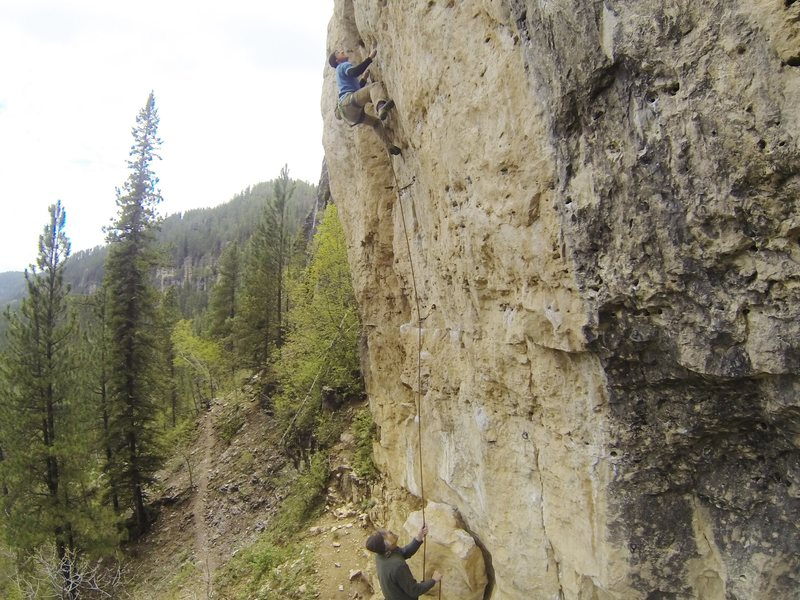 Last of the Mohicans, 5.12a.<br> Indian Wars Wall, Mohican.<br> Spearfish Canyon, SD.