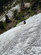 Rock Climbing Photo: Looking down from the slab on P3