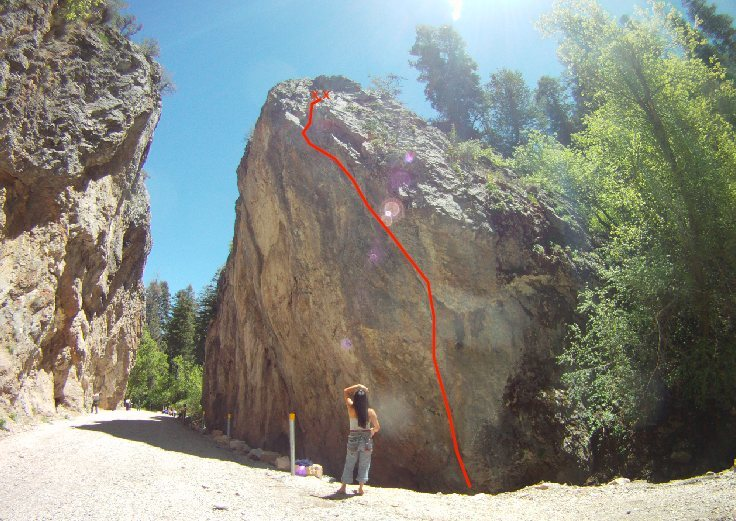 follow route to the top,  crux on the last bolt right before you exit the overhang