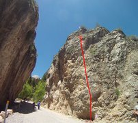Rock Climbing Photo: Follow Red Line to the bolts up top.  6 clips to b...