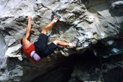 Rock Climbing Photo: Heel hooking the Onion Man exit. Slime Alert: Cond...