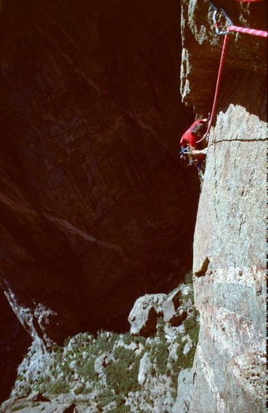 Rock Climbing Photo: Rob follows crux traverse Checkerboard Wall (5.10+...