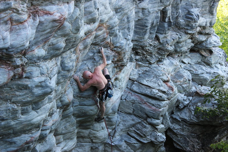 Rock Climbing Photo: Tim Fisher running a lap on his test piece
