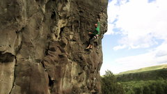Rock Climbing Photo: Developer and first ascensionist, Dean Lords fires...