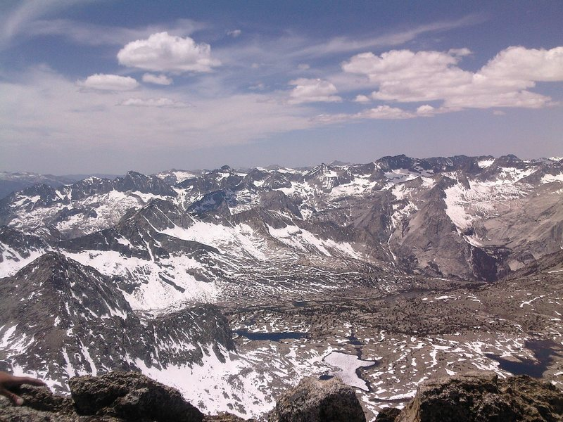 View from the Winchell summit looking over Dusy Basin