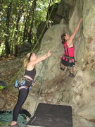 Rock Climbing Photo: clipping the first bolt of Pigs' Feat