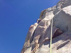 Rock Climbing Photo: Wes under the upper roof. Can go up and over on ma...