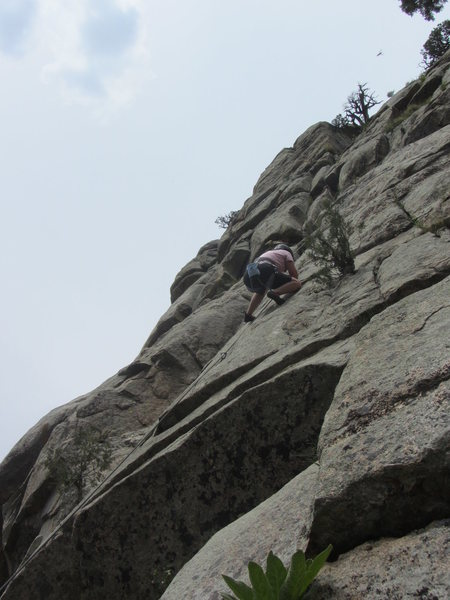 Nikki, first route climber's right of Monkey Lust.