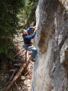 Rock Climbing Photo: Sizzle mops up The Puke Stain on The Hangover Wall...