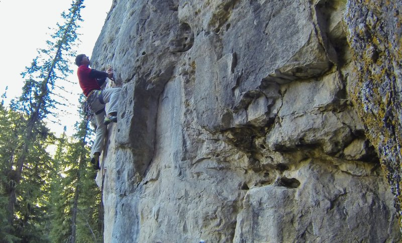 Me trying not to lose my lunch on my red point attempt of The Puke Stain, 5.11c<br> <br> The Hangover wall at The Danks.