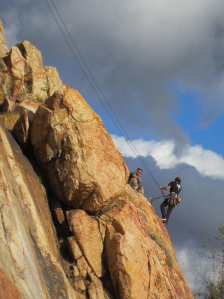 Rappelling from El Cajon Mtn.