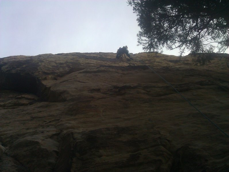 Heading up the first pitch of Unimpeachable Groping, Ginger Buttress; the tree was on, no? : /