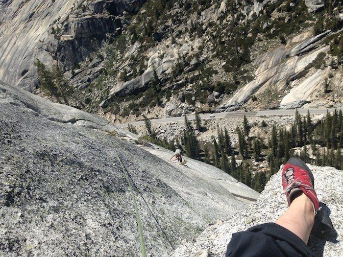 Rock Climbing Photo: Belaying Cruise up p3 of Aqua Knobby; Tuolumne