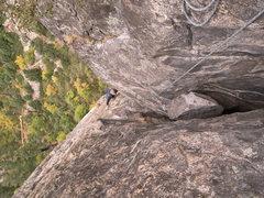 Rock Climbing Photo: Bringing Matt up the 2nd pitch of Braille Book; Hi...