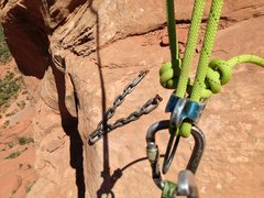 Rock Climbing Photo: one rap down, one to go. a single 60m rope is enou...
