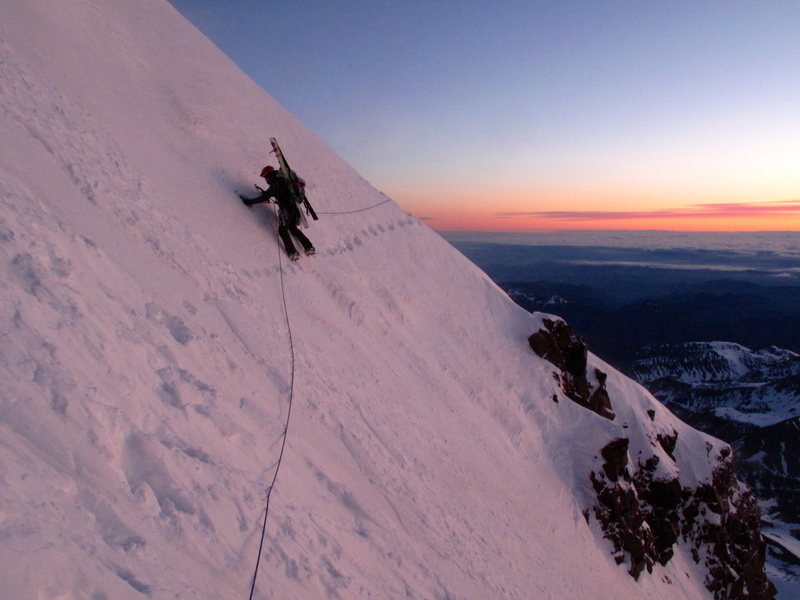 "Coming over the ""rock step"" at dawn in spring conditions on June 3rd"