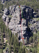 Rock Climbing Photo: Gallatin Tower Standard Route topo.  Follow red fo...