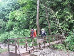Rock Climbing Photo: Marin & Dimitri crossing the wooden footbridge by ...
