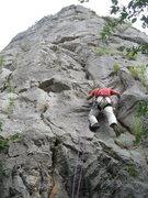 Rock Climbing Photo: Marin starting up Bachvata (5.8) on the most obvio...