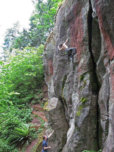 Chris K. climbing one of the best lines at Carver.