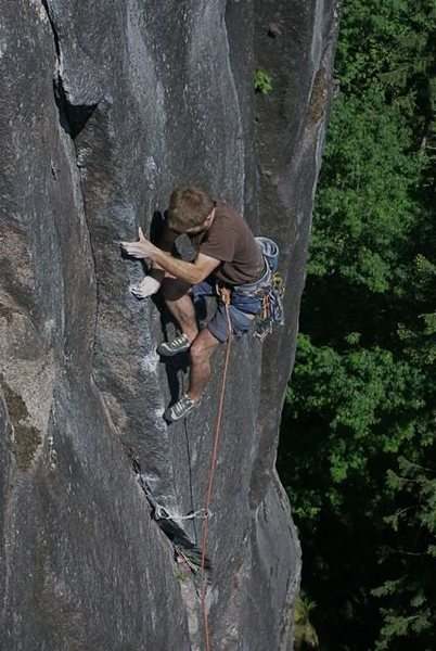 Andrew Philbin on the upper part of P1 of The Black Sea (11b).