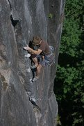 Rock Climbing Photo: Andrew Philbin on the upper part of P1 of The Blac...
