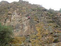 Rock Climbing Photo: Leading, a few feet below the crux roof.