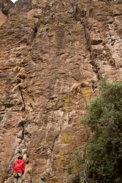 Rock Climbing Photo: Climber at the anchors of Enkefet