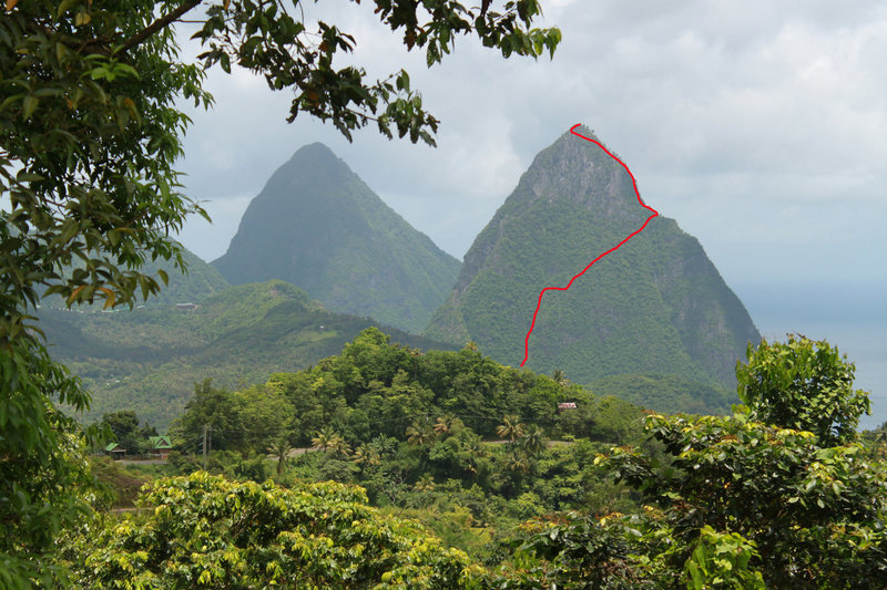 The basic route up the mountain. Note: this is from memory of landmarks going through the jungle.