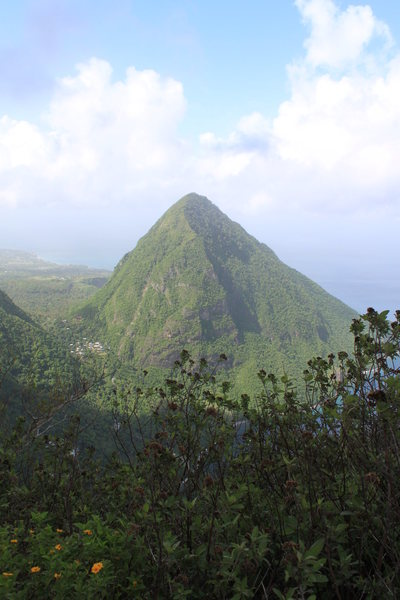 Photo from summit looking over at Gros Piton